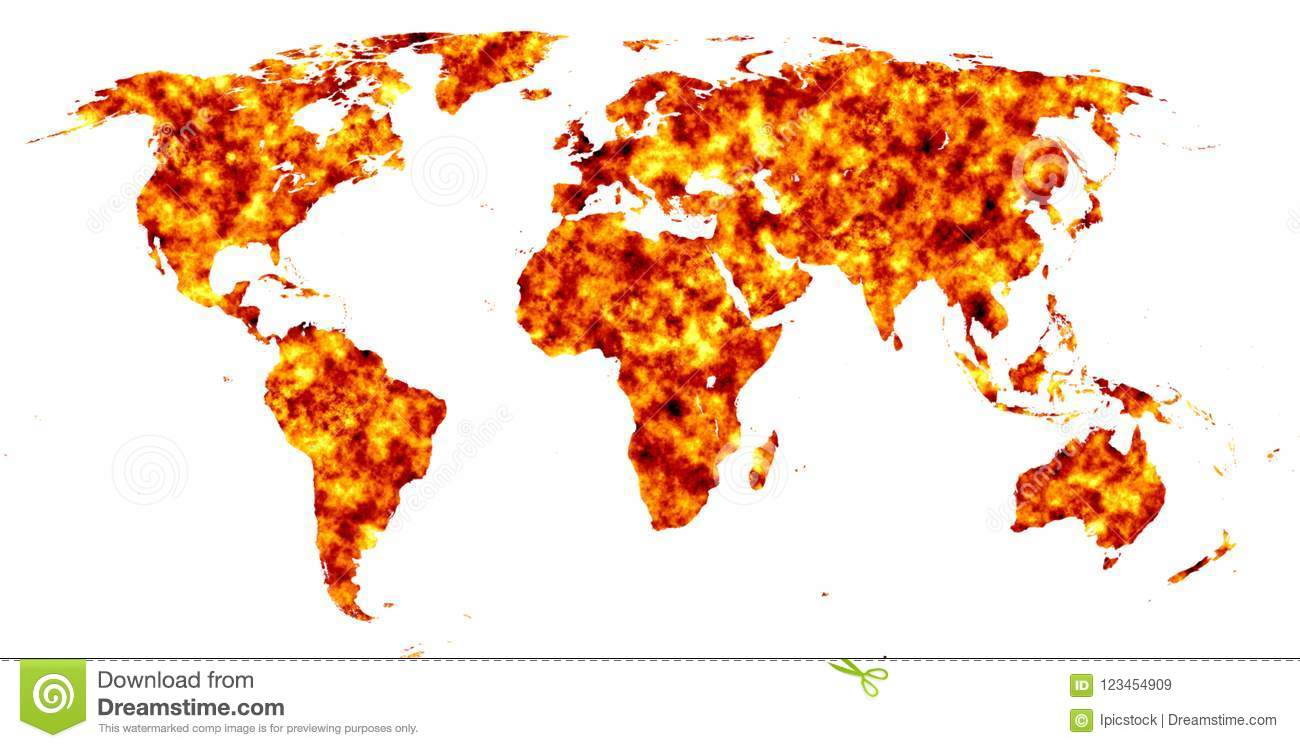 World Map With Fire Texture Stock Illustration ...