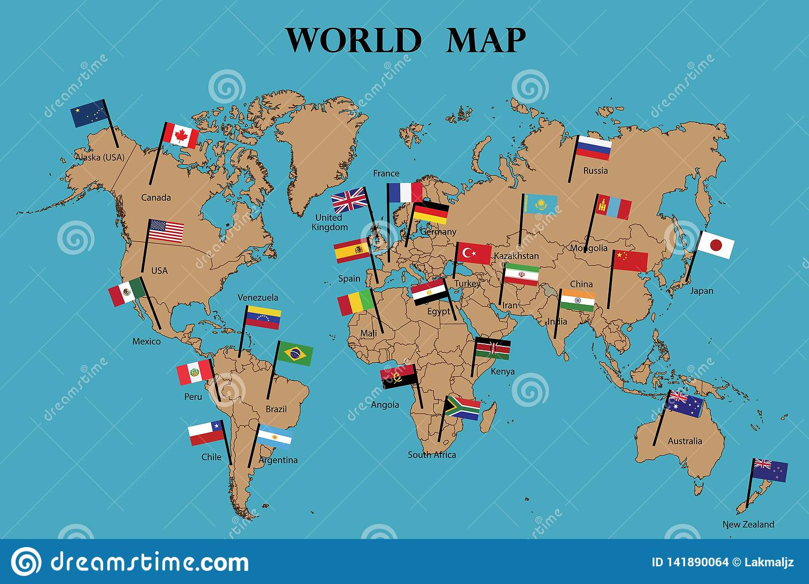 World Map and world flag stock vector. Illustration of icon