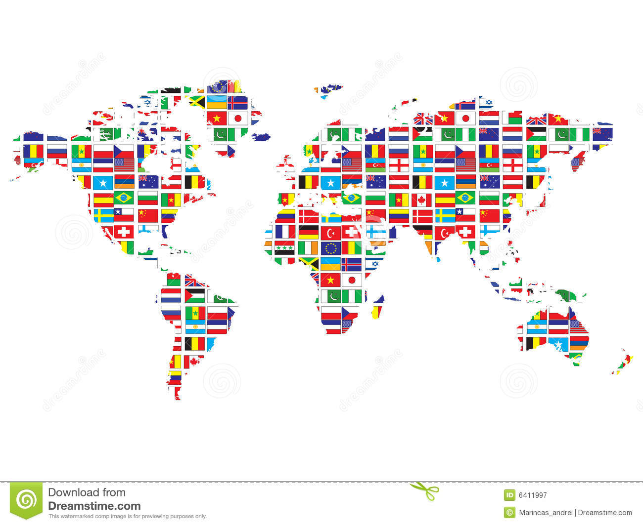 Map Of World Flags.World Map With Flags Stock Vector Illustration Of Global 6411997