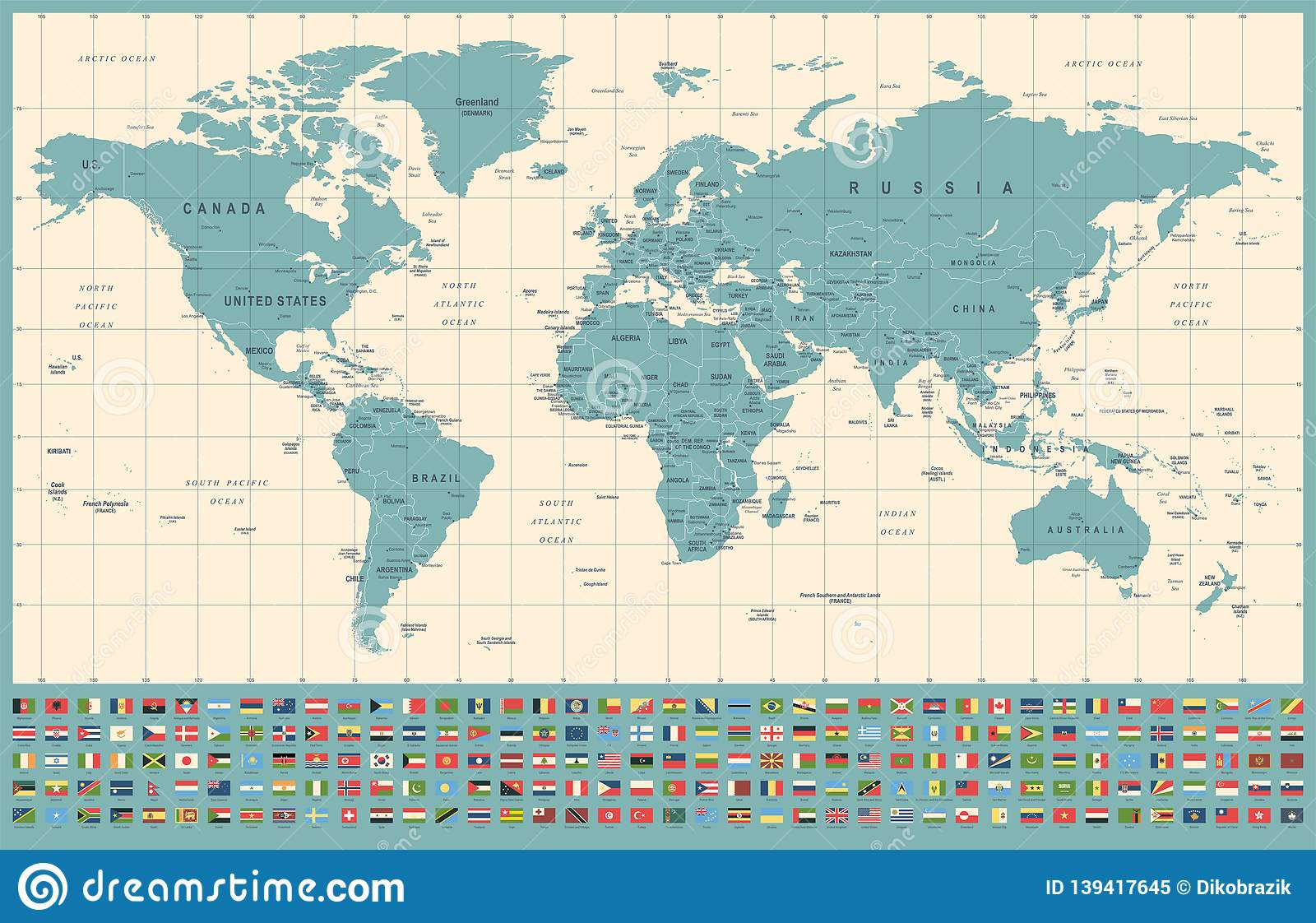 World Map And Flags - Borders, Countries And Cities ...