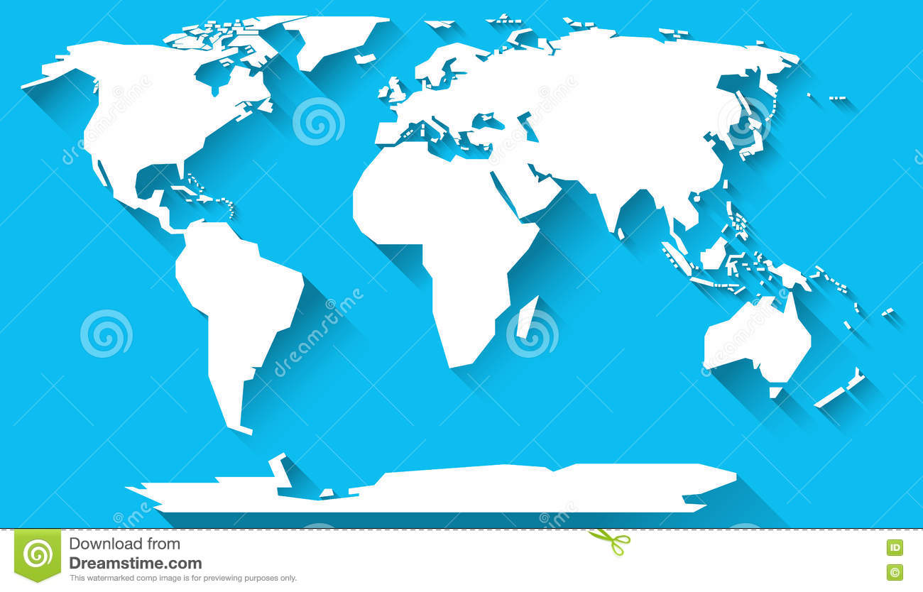 World map flat design stock illustration. Illustration of blue ...