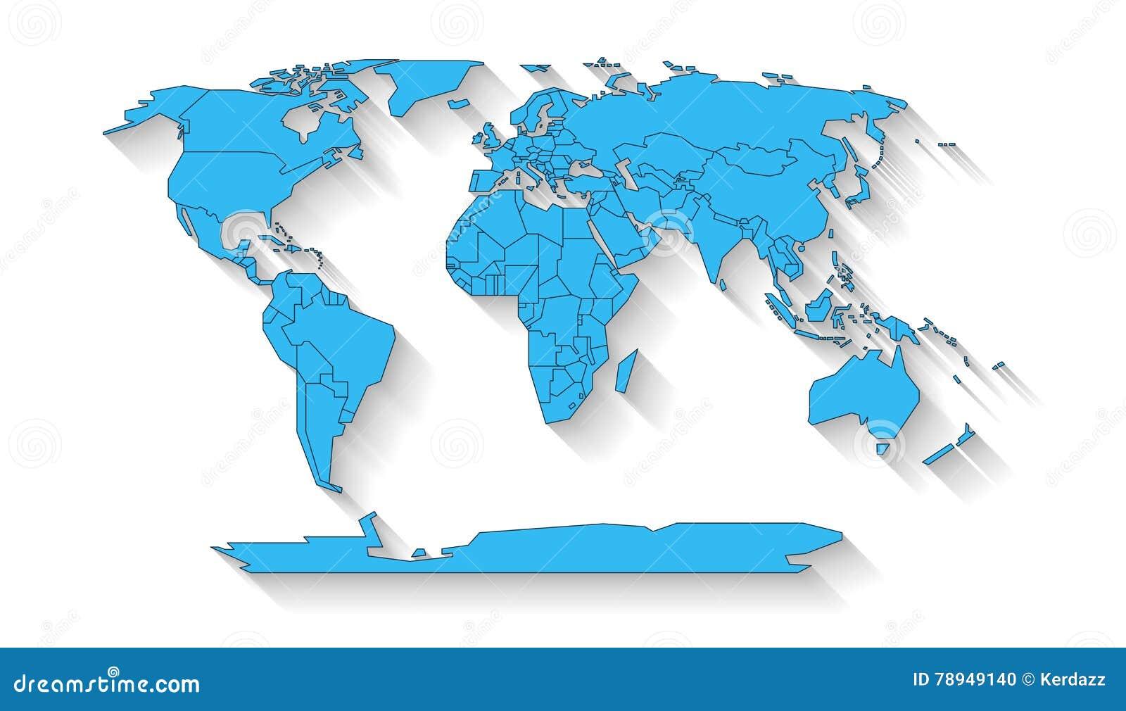 World map flat design stock illustration. Illustration of asia ...