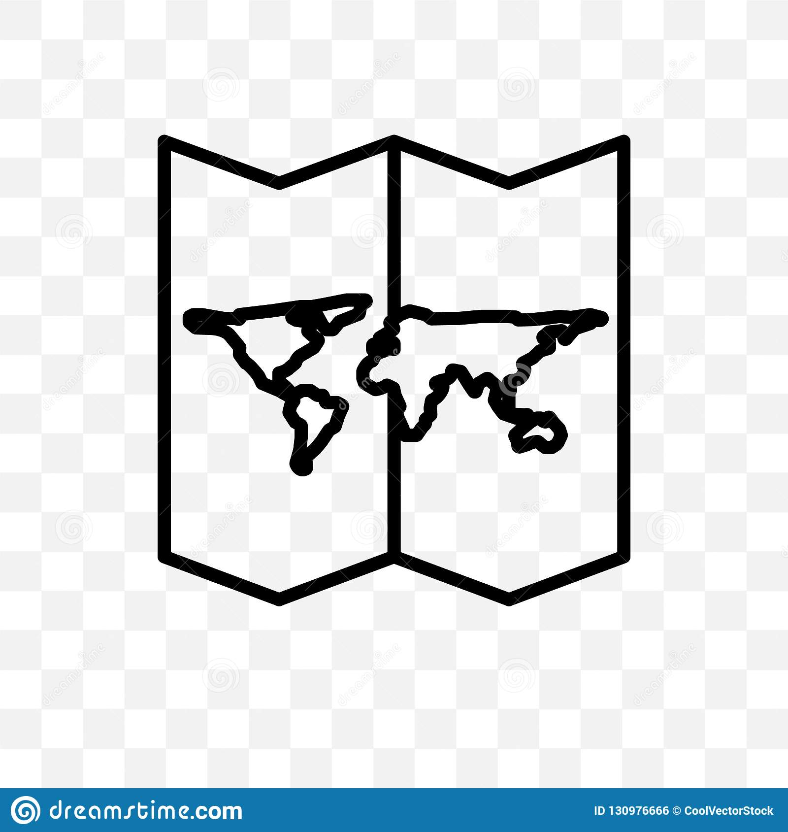 World Map Folded Vector Linear Icon Isolated On Transparent
