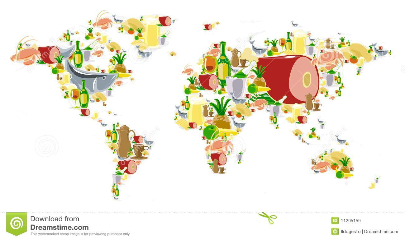 world map with food and drinks. world map with food and drinks stock vector  image