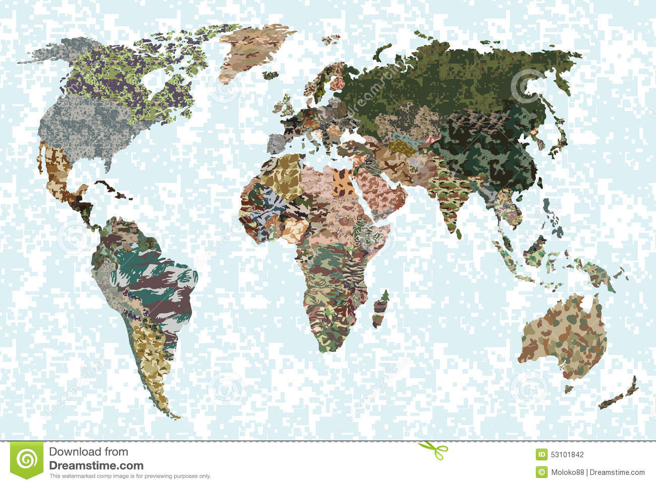 World Map Forest Green Camouflage Pattern Stock Vector
