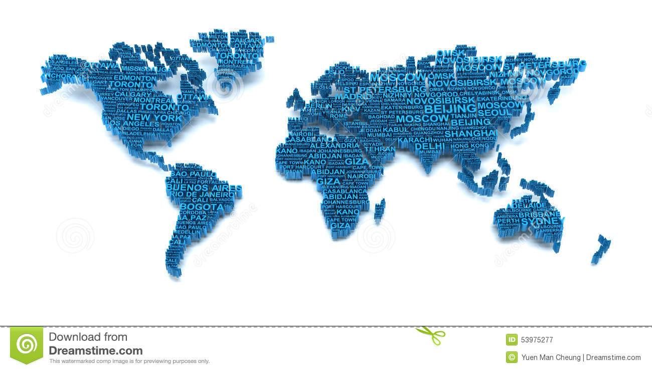 World Map Formed By Words Stock Illustration Illustration Of City