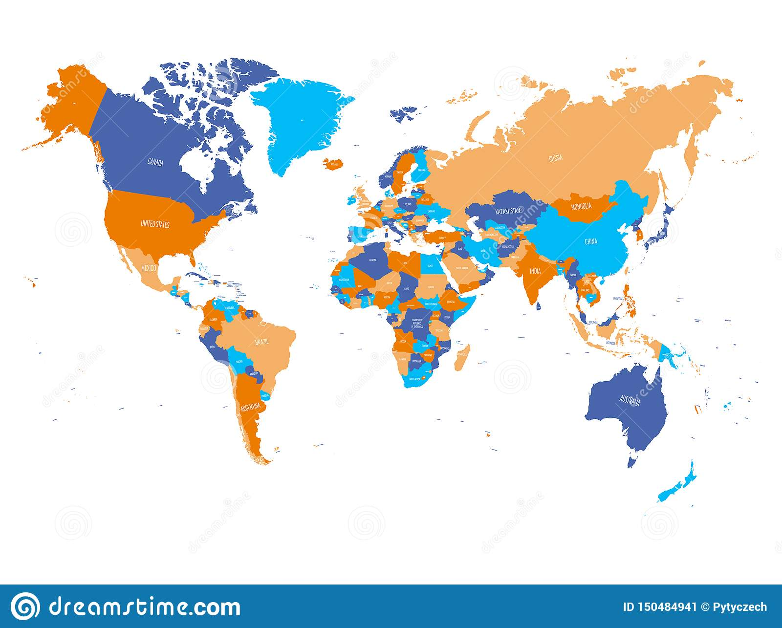 World Map In Four Colors On White Background. High Detail ...