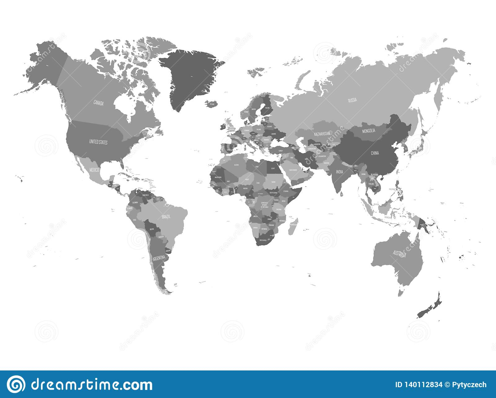 World Map In Four Shades Of Grey On White Background. High Detail ...