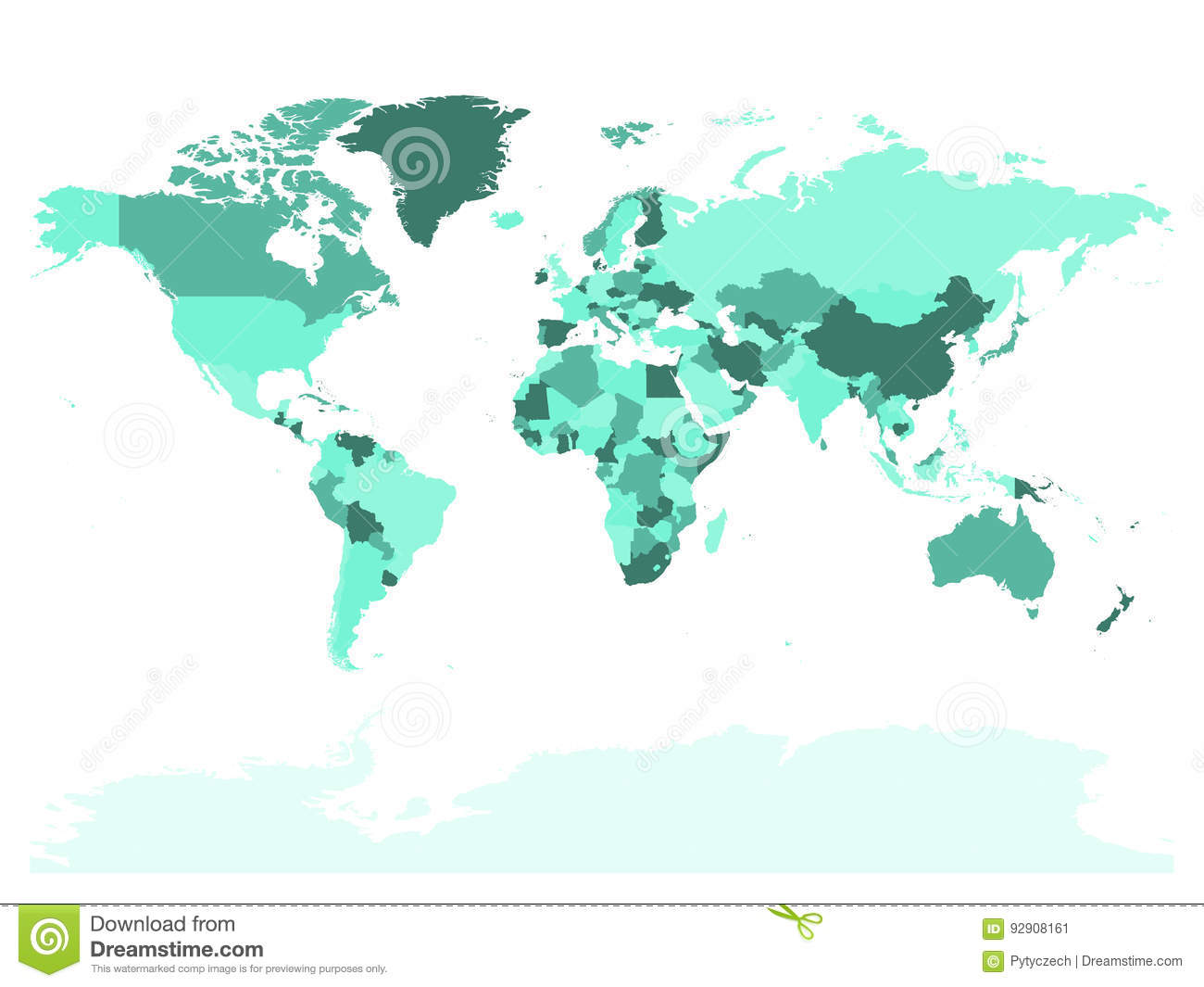 World map in four shades of turquoise on white background high download comp gumiabroncs Images