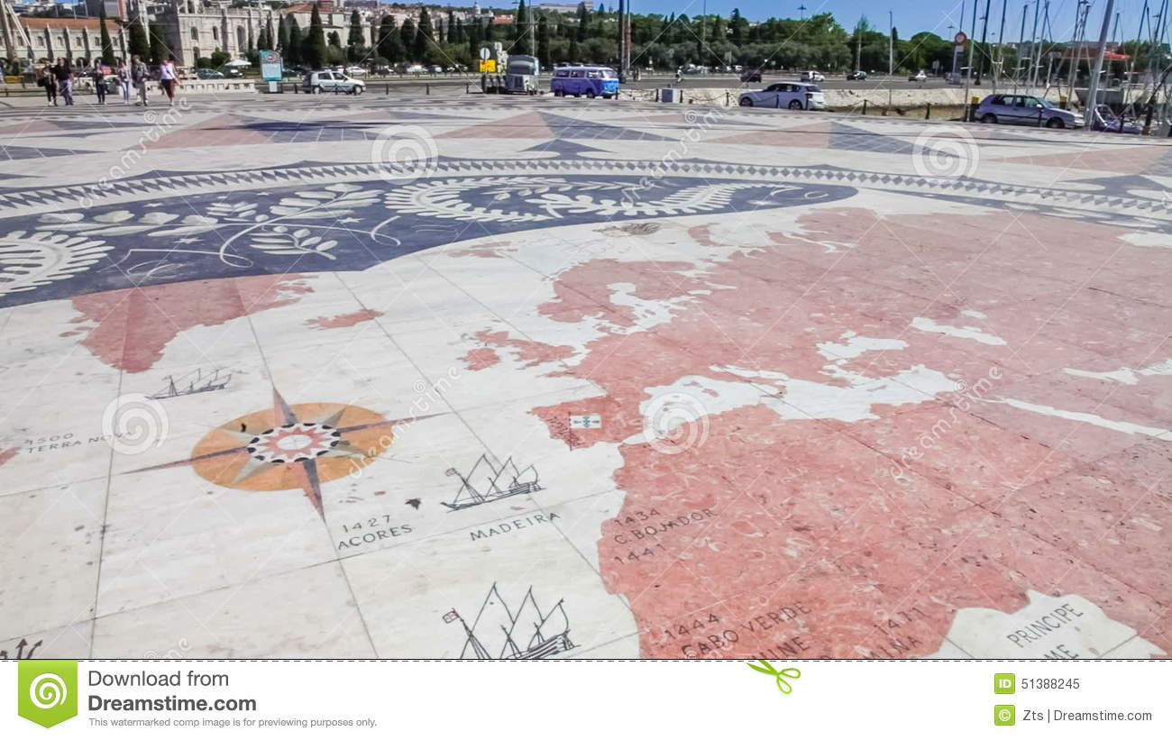 World Map At The Front Of The Padrao Dos Descobrimentos, Lisbon ...