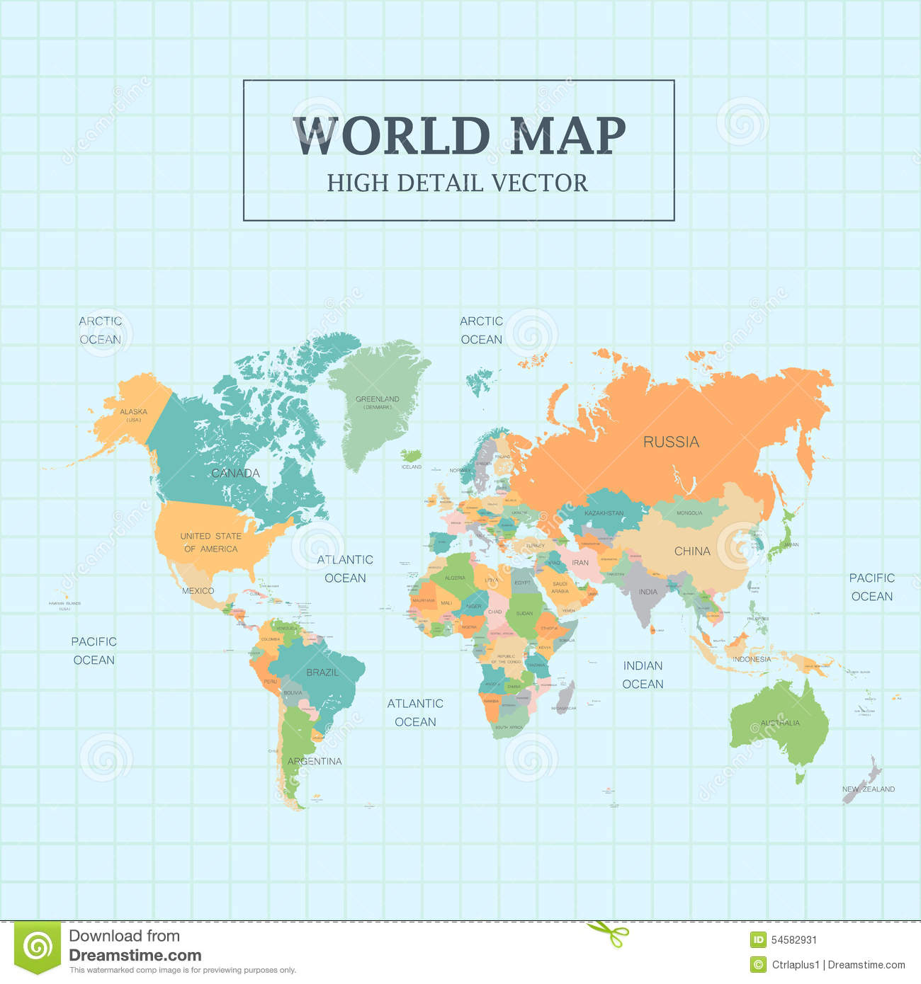 World Map Full Color High Detail Stock Vector Image