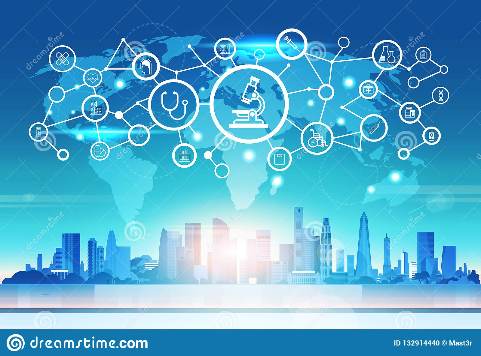 World map futuristic microscope icon interface medical healthcare network connection concept cityskape sunset background
