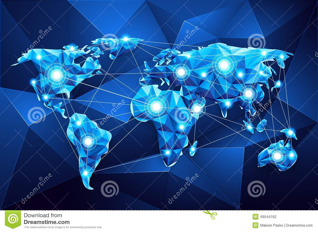 World Map. Global Network Stock Vector. Illustration Of Enterprise