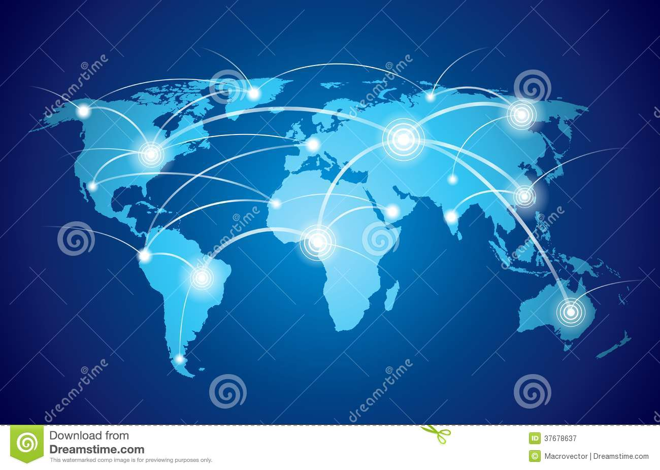 World map with global network stock vector illustration for Global design company