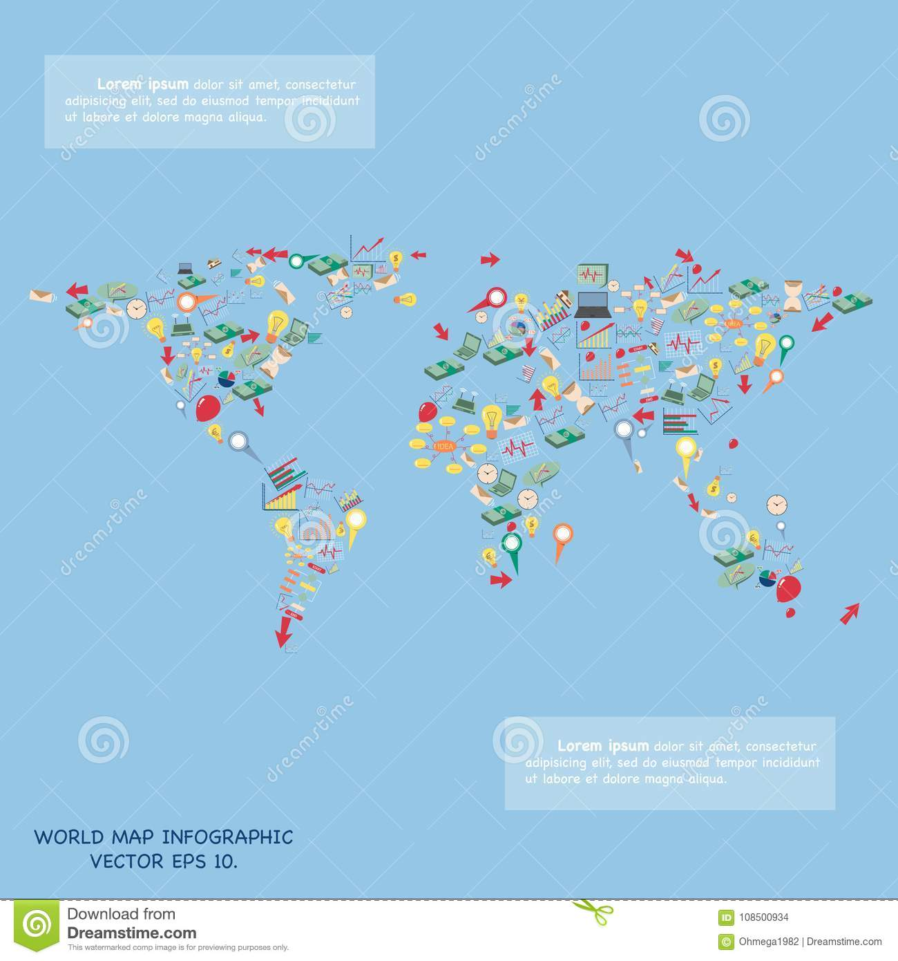 World map globe design by creative cartoon business technology and download world map globe design by creative cartoon business technology and strategy planning icons idea gumiabroncs Gallery