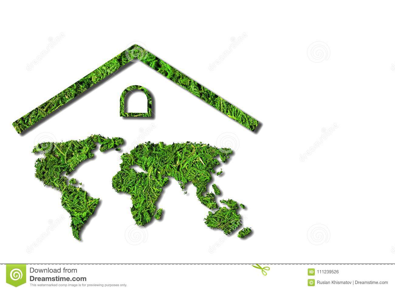 Concept Ecology. Green House. World Map Component Of The ...
