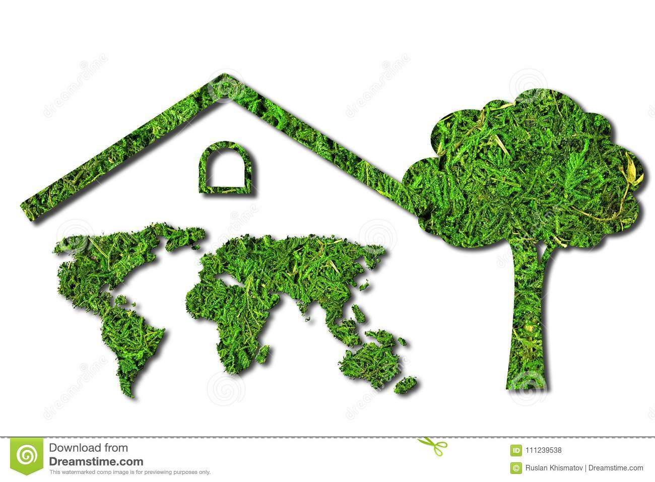 Concept Ecology. Green House. World Map Component Of The Walls Of ...