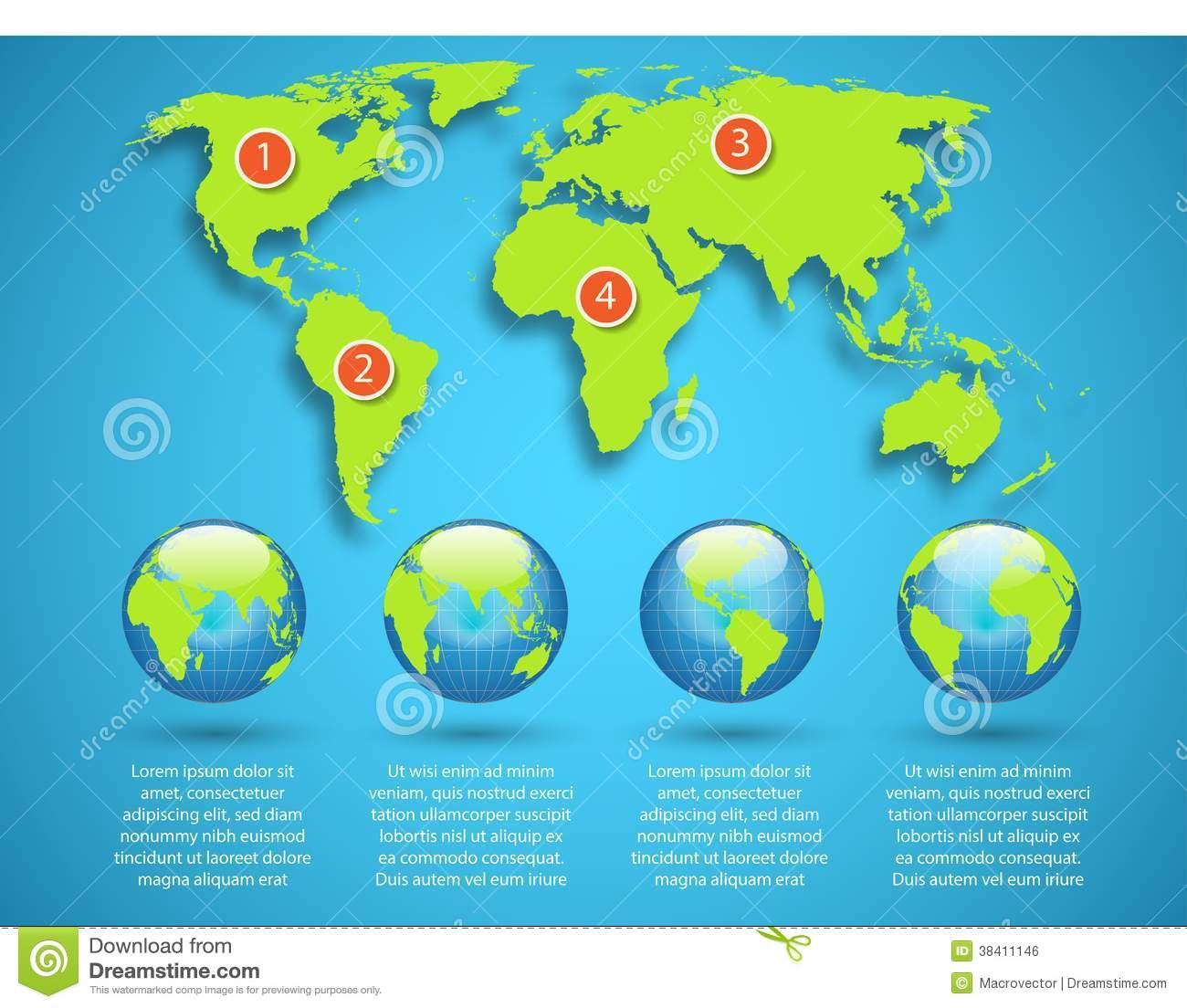 World Map With Globe Infographic Template Stock Illustration