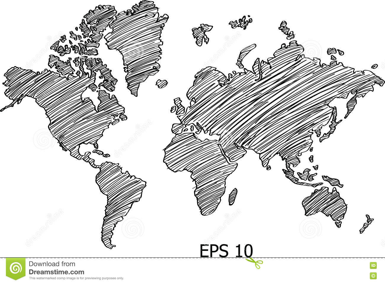 World Map Globe Vector Line Sketch Up Illustrator Stock Vector