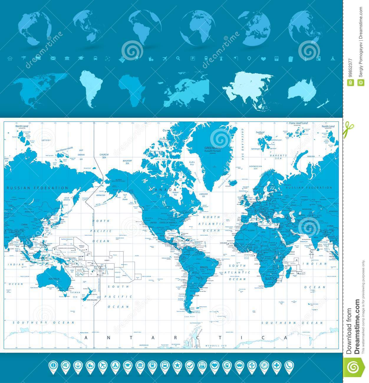 World map globes and navigation icons america in center stock download world map globes and navigation icons america in center stock vector illustration gumiabroncs Image collections