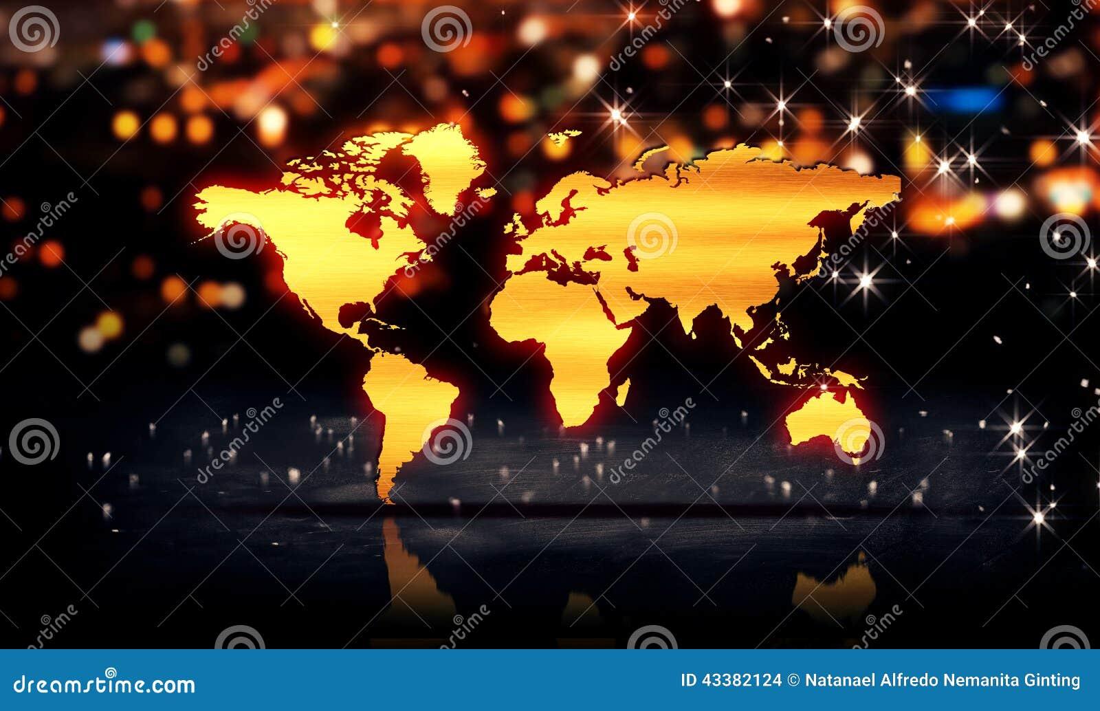 World map gold city light shine bokeh 3d background stock world map gold city light shine bokeh 3d background gumiabroncs Choice Image