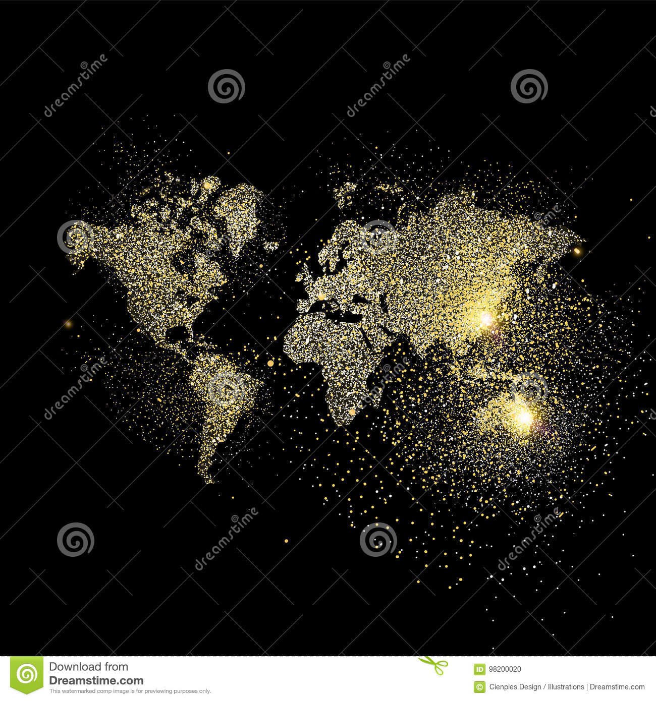World map gold glitter art concept illustration stock vector download comp gumiabroncs Choice Image