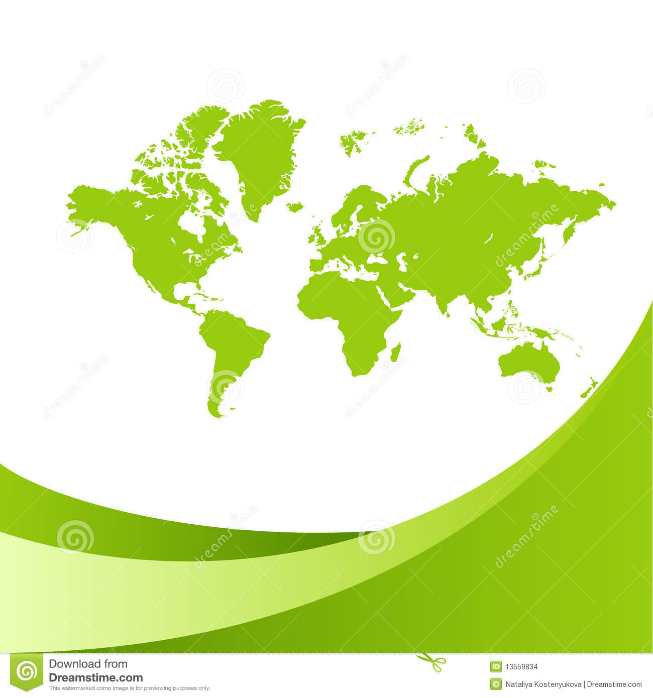 World Map Green Background Stock Vector Illustration Of Continents