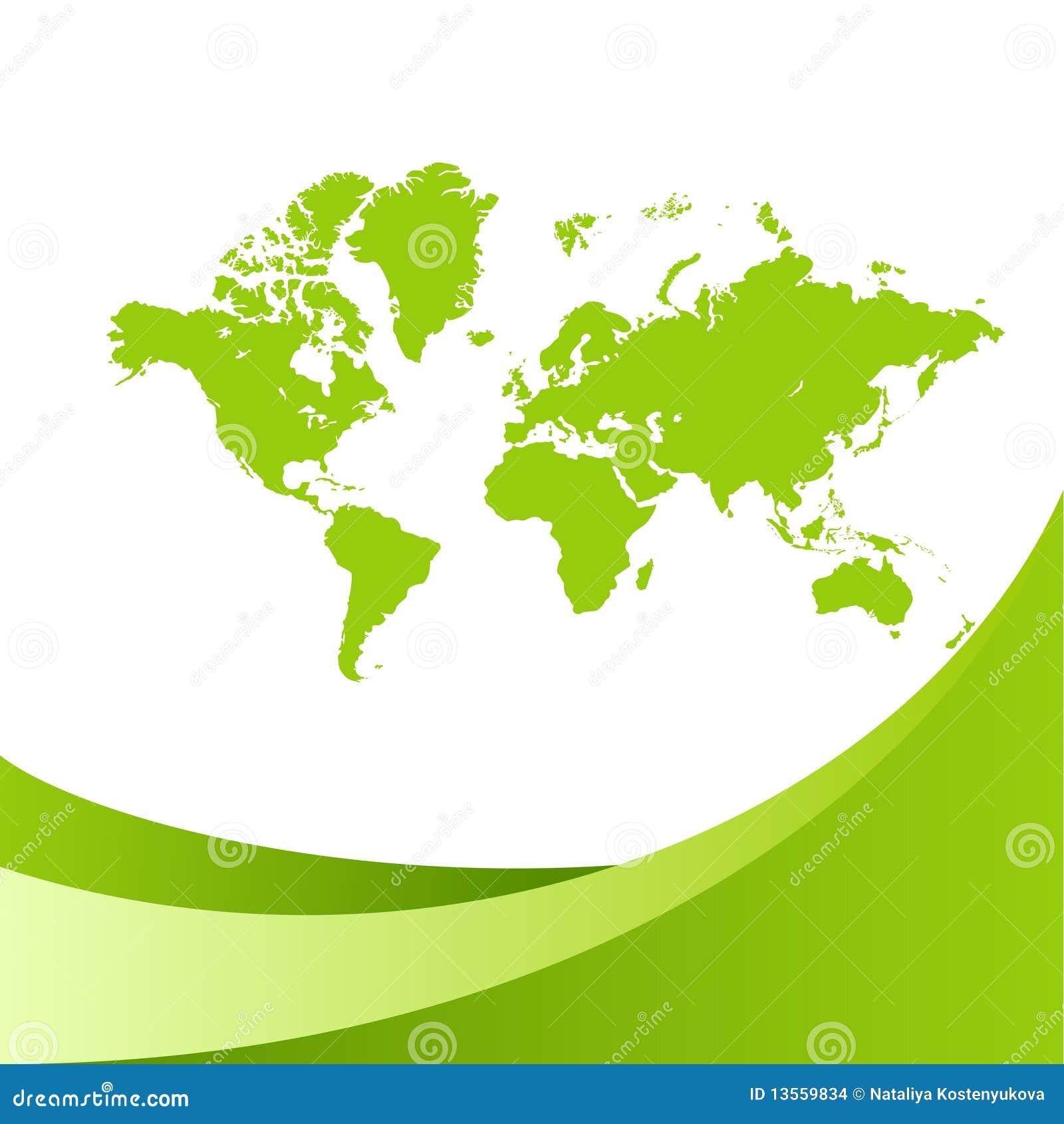 World map green background stock vector. Illustration of