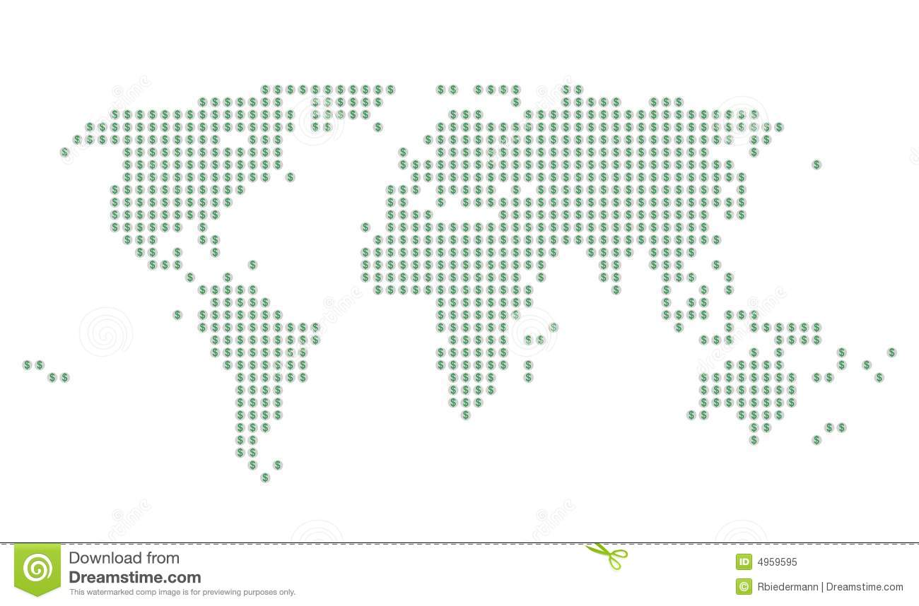 World map with green dollar signs on gray dots stock illustration world map with green dollar signs on gray dots gumiabroncs Image collections