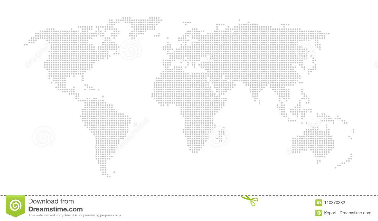 World map with grey dots