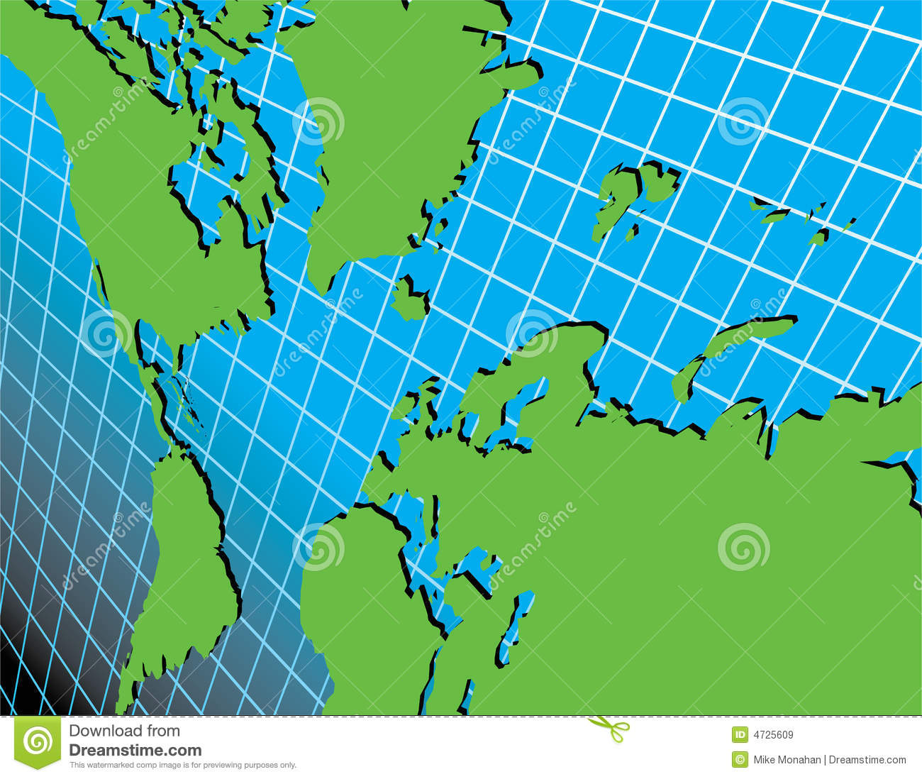 World: World Map On Grid At An Angle Stock Vector