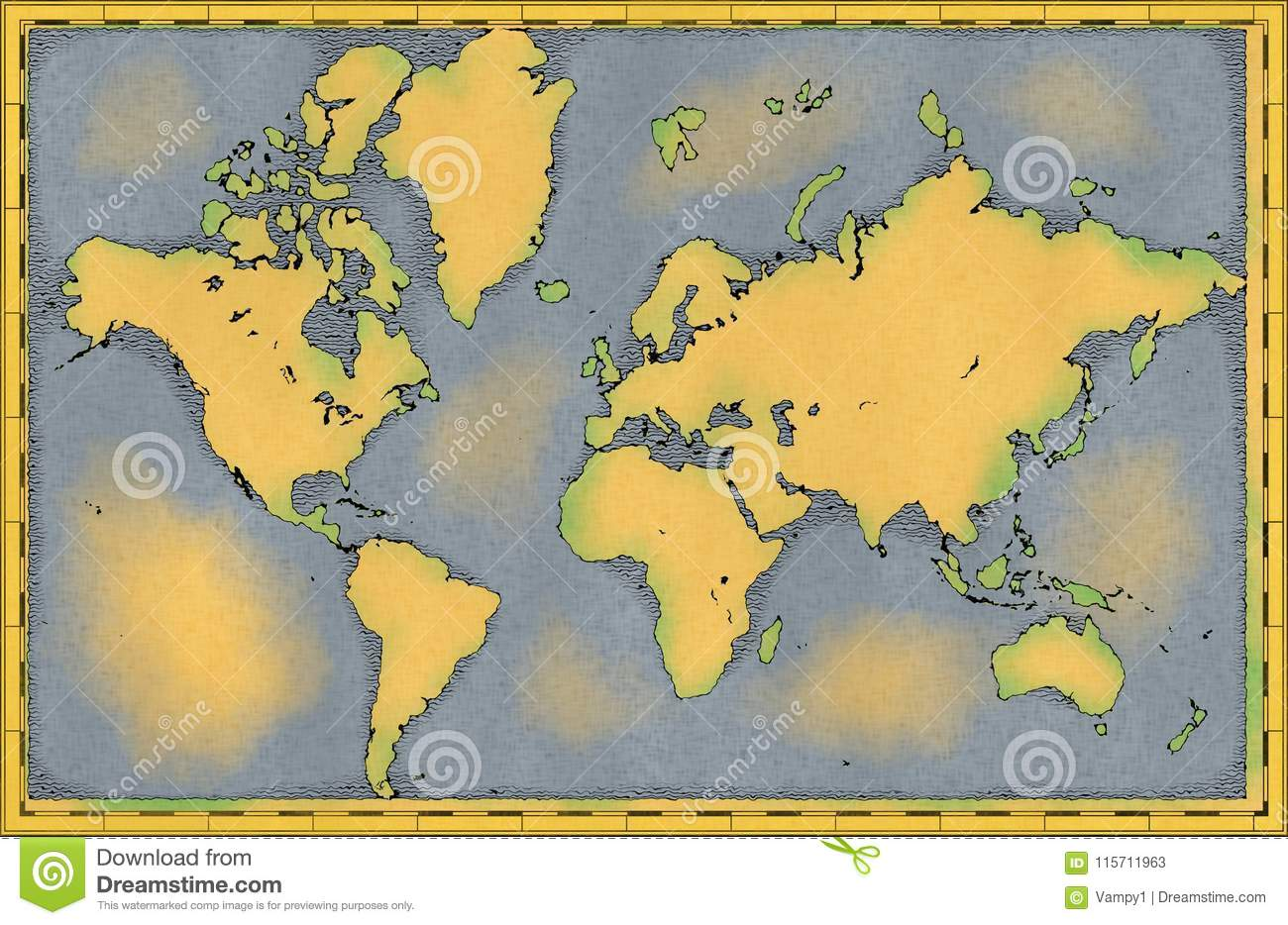 World Map Hand Drawn Illustrated Brushstrokes Geographical Map
