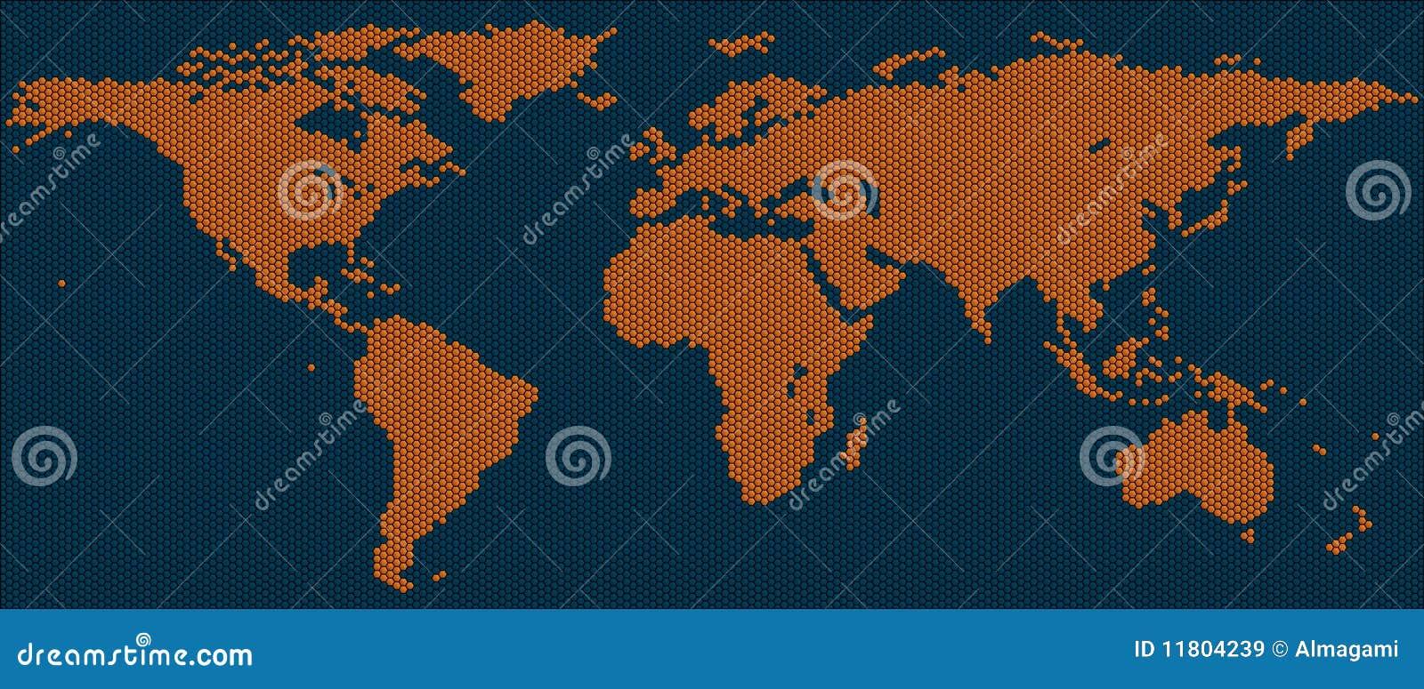 World Map Of Hexagon Tiles Stock Illustration