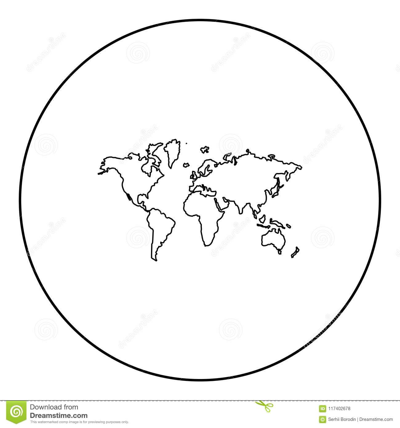 world map icon black color in circle stock vector illustration of