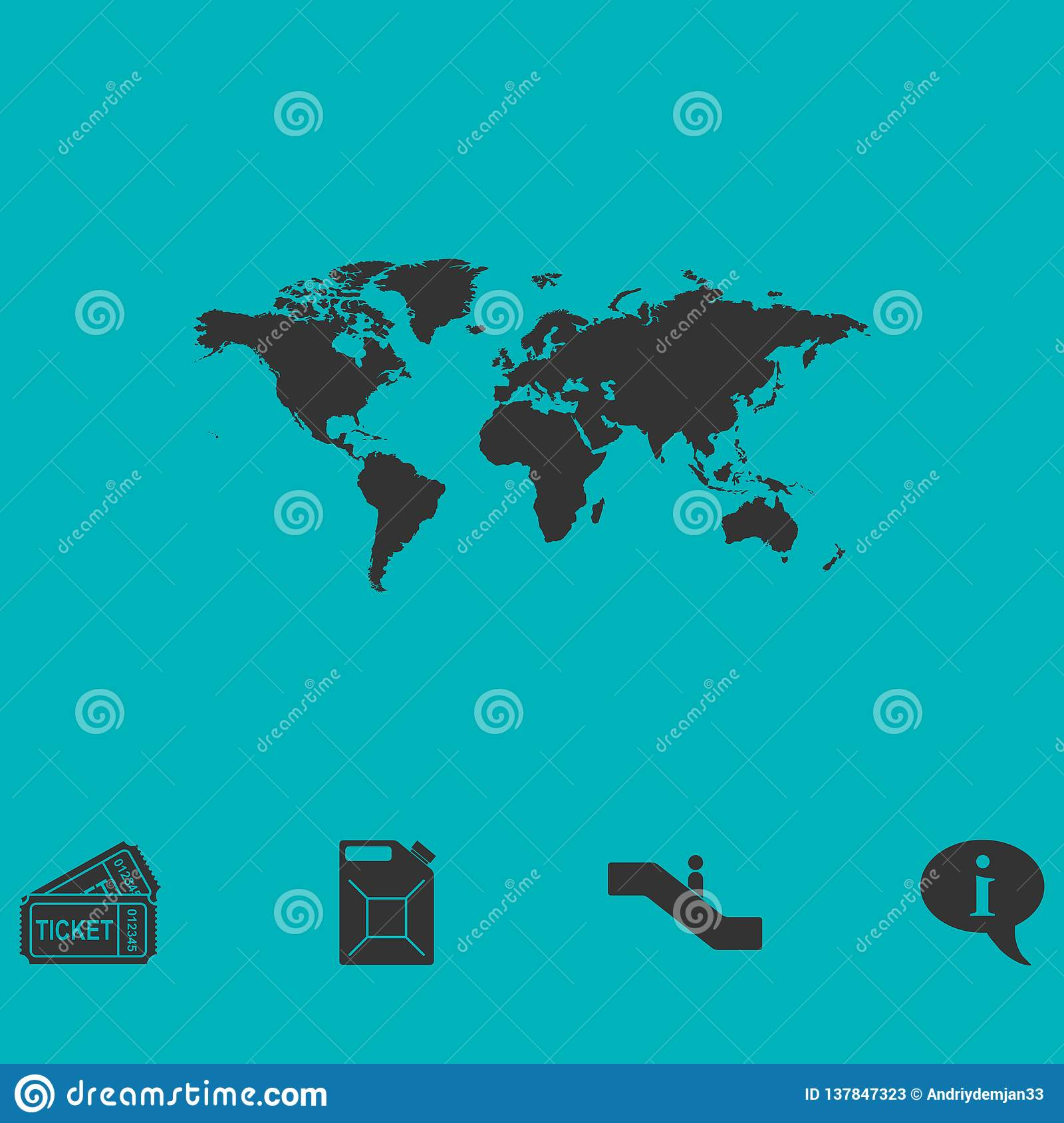 World map icon flat stock vector  Illustration of continents