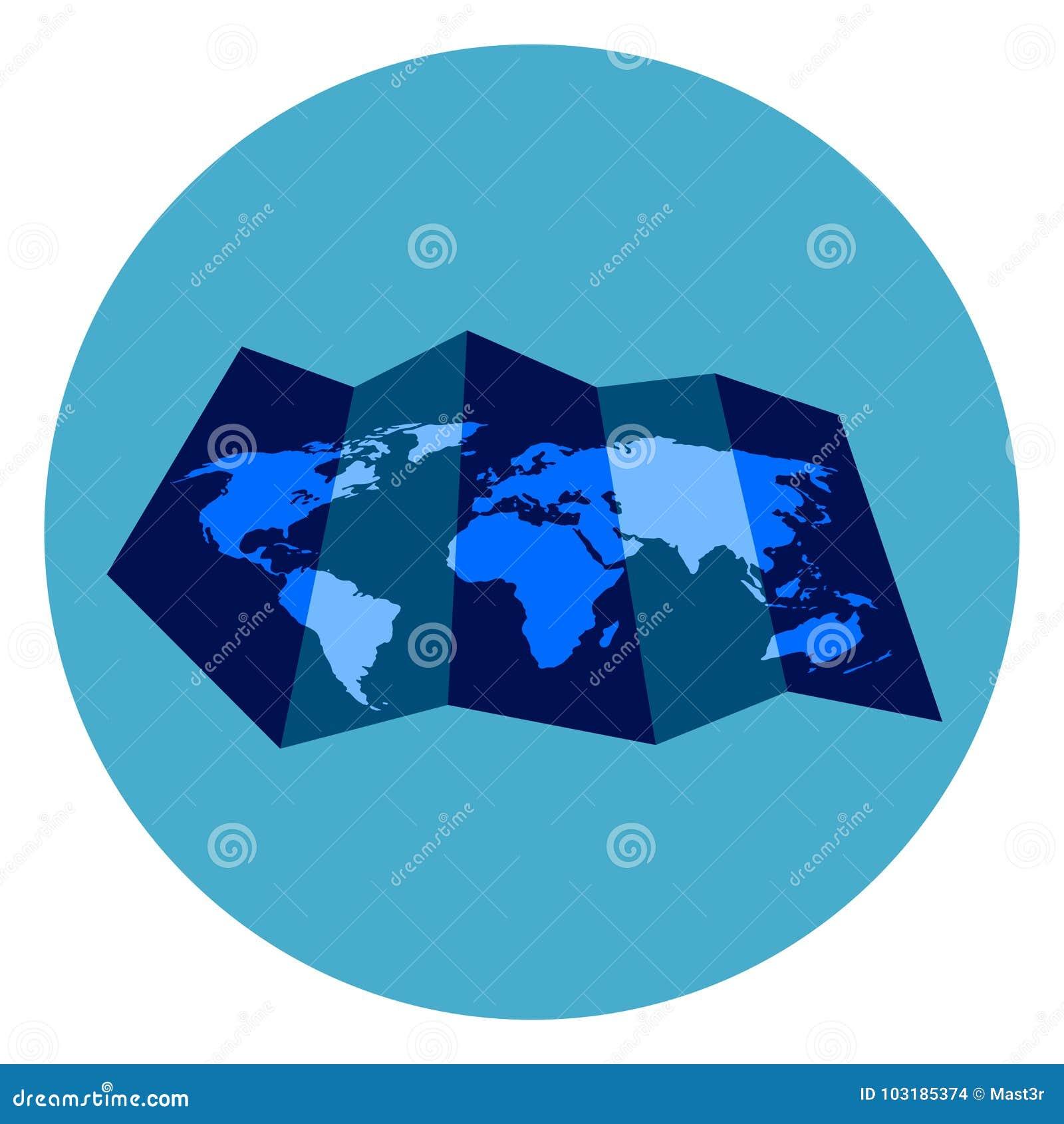 Round Globe Map.World Map Icon On Round Blue Background Stock Vector Illustration