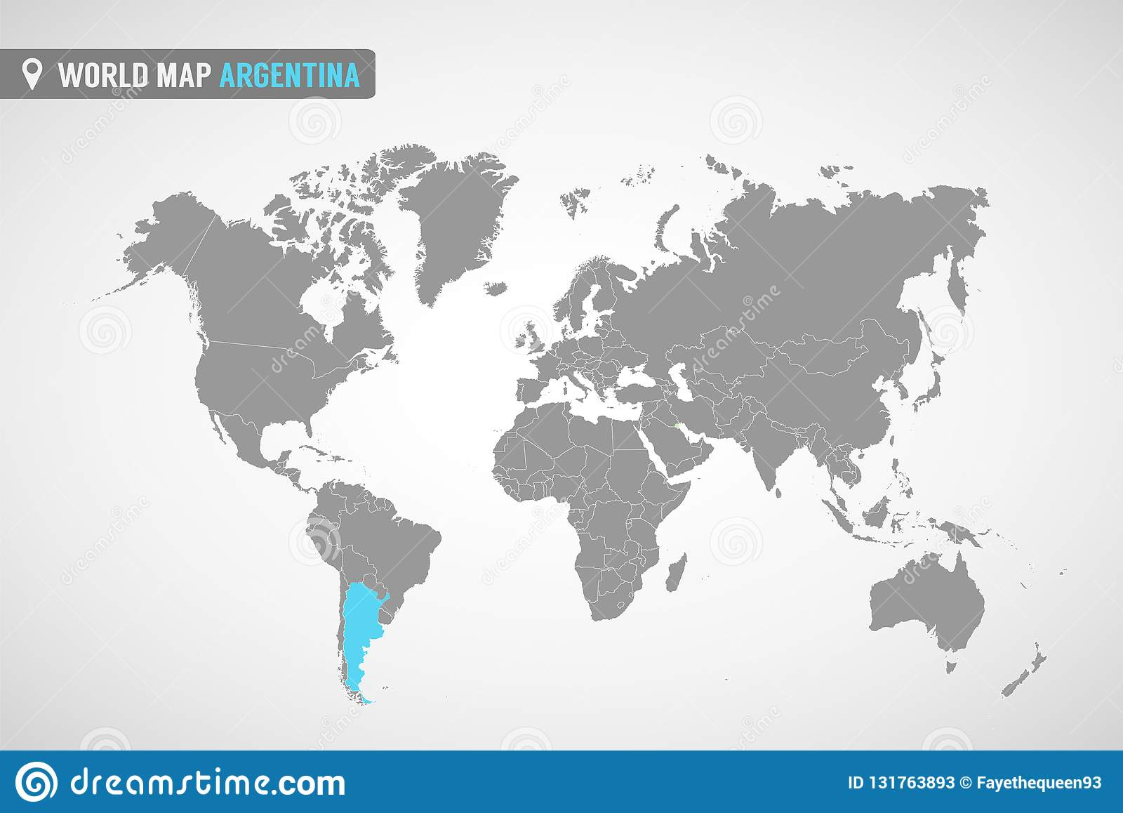 World Map With The Identication Of Argentina. Map Of Argentina