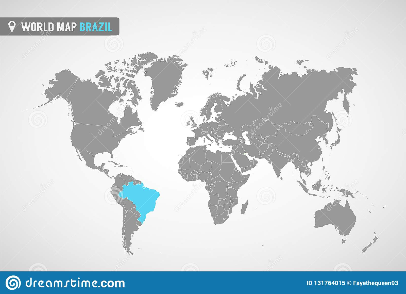 Image of: World Map With The Identication Of Brazil Map Of Brazil Political World Map In Gray Color America Countries Stock Vector Illustration Of America Grey 131764015