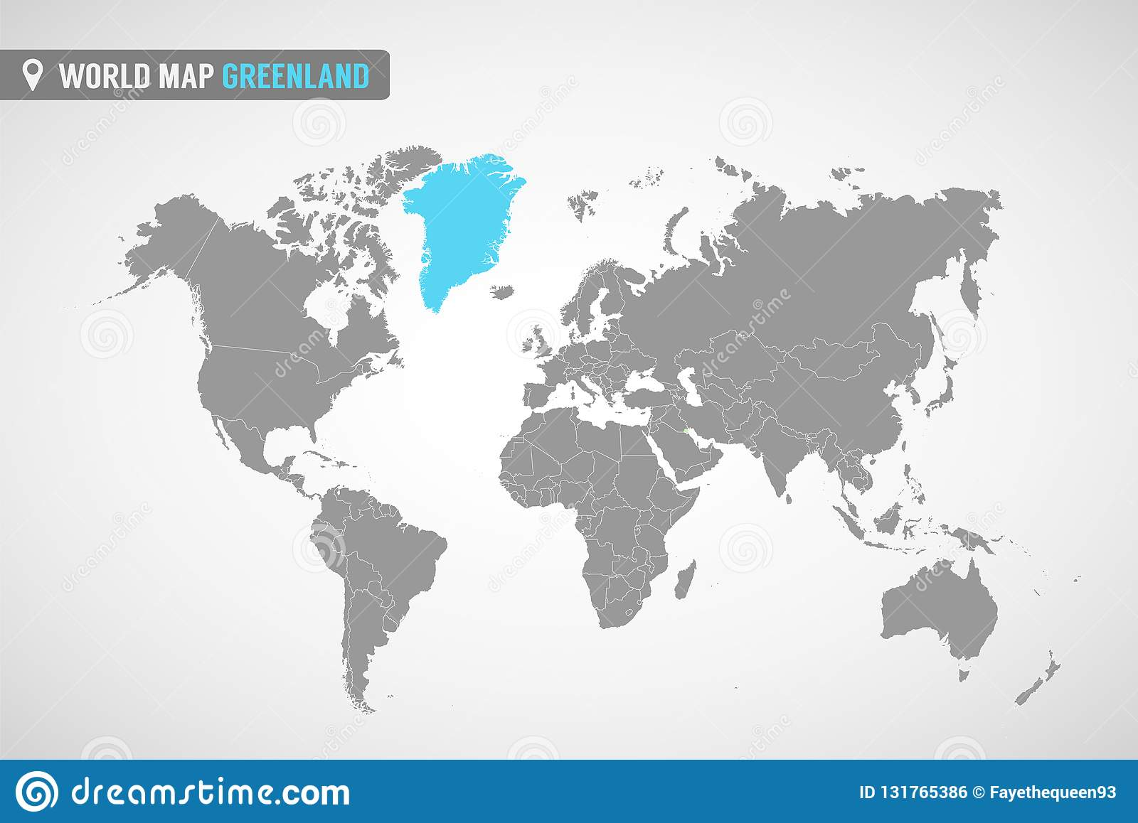 World Map With The Identication Of Greenland Map Of Greenland