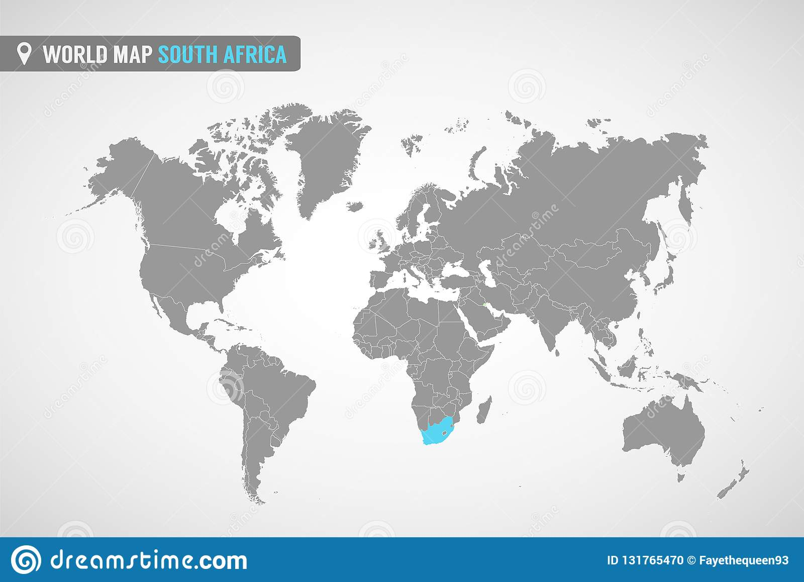 South Africa On World Map World Map With The Identication Of South Africa. Map Of South