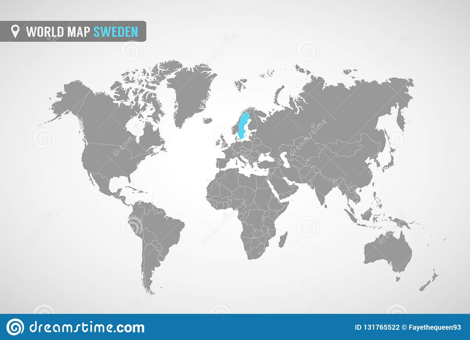World Map With The Identication Of Sweden. Map Of Sweden. Political ...