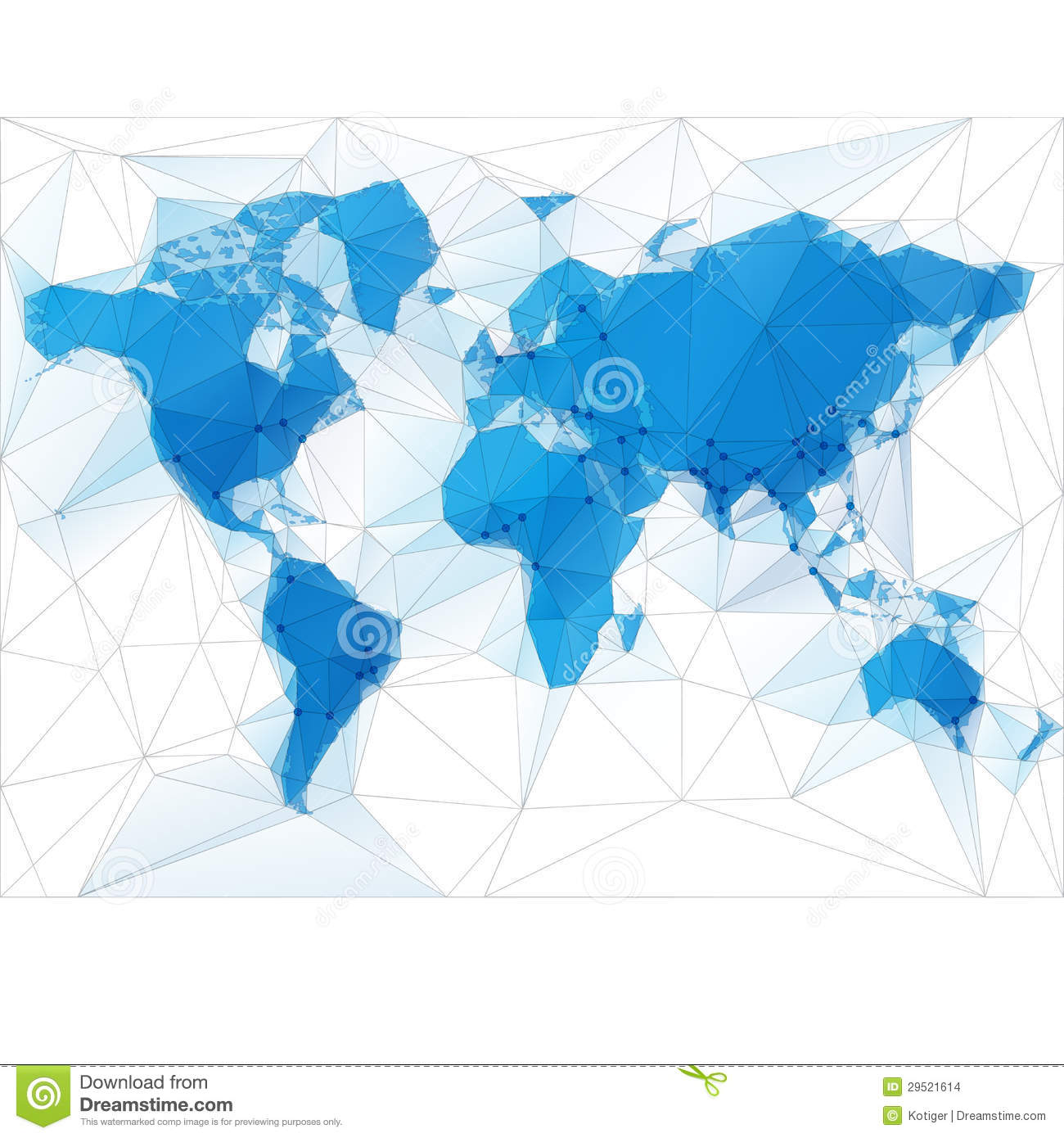World Map Illustration With Largest Cities Stock Vector Image