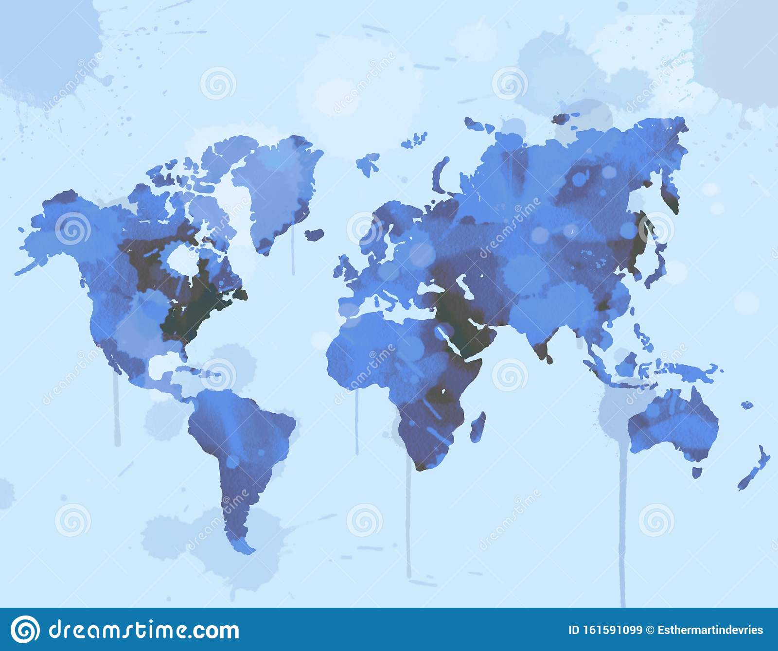 World Map Illustration In Watercolor Stock Illustration