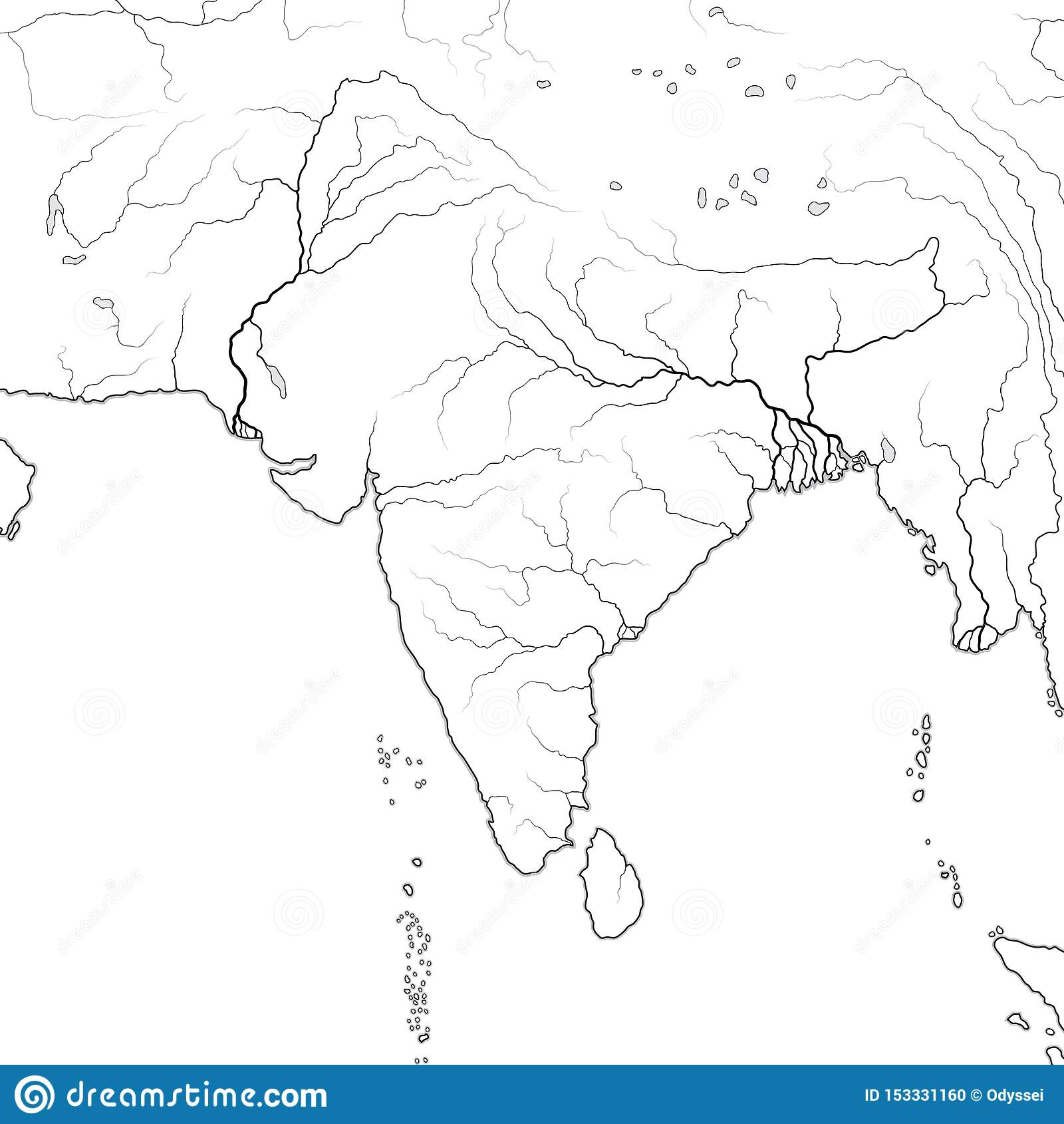 World Map Of Indian Subcontinent India Pakistan Hindustan