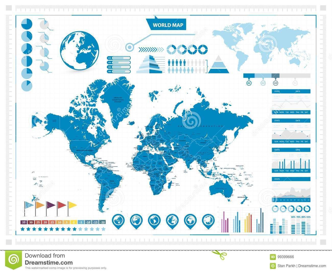 World map and infograpchic elements mercator projection stock download world map and infograpchic elements mercator projection stock vector illustration of gray gumiabroncs Images