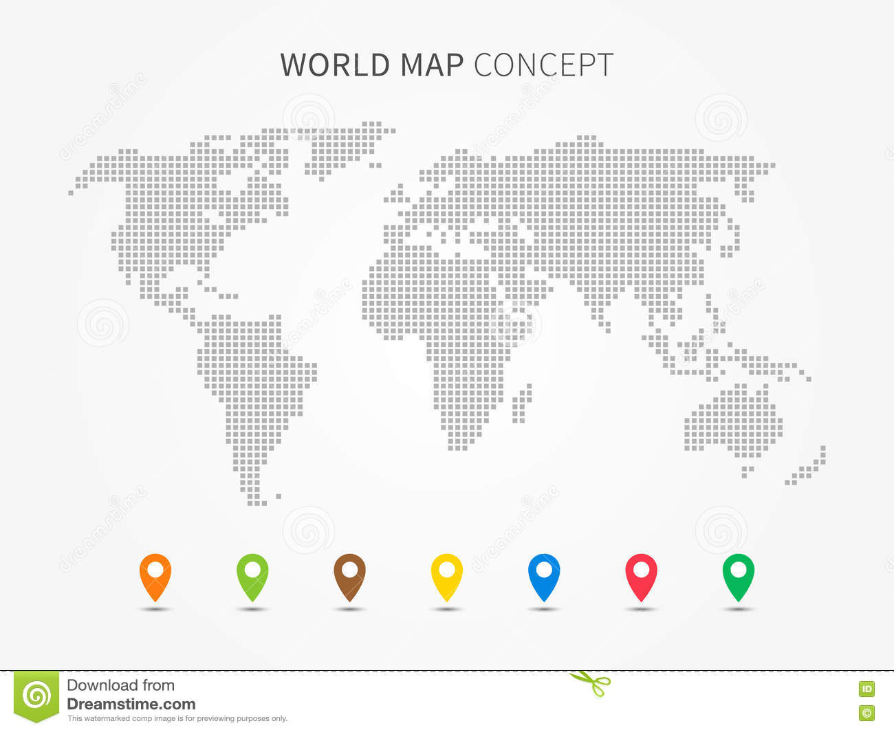 World Map Infographic With Colorful Pointers Vector Illustration Stock Vector