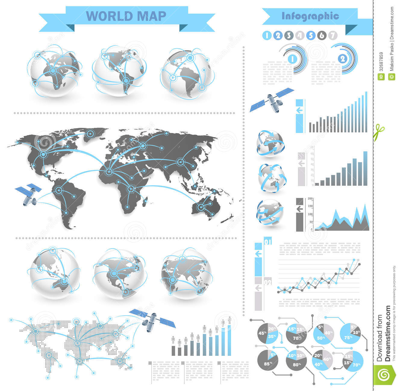 World map infographic stock vector illustration of symbol 32687859 world map infographic gumiabroncs Gallery