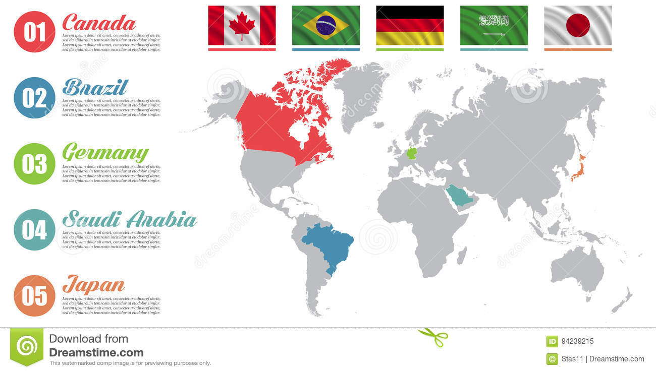World map infographic slide presentation canada brazil germany download comp gumiabroncs