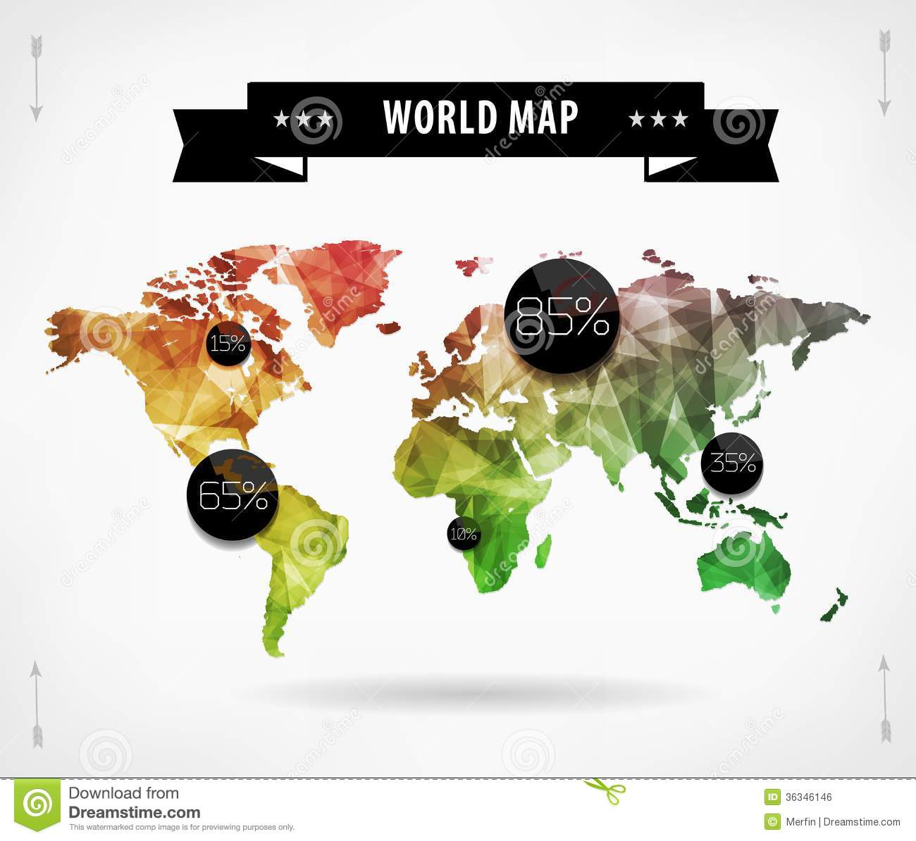 World Map Infographic Template. All Countries Are ...