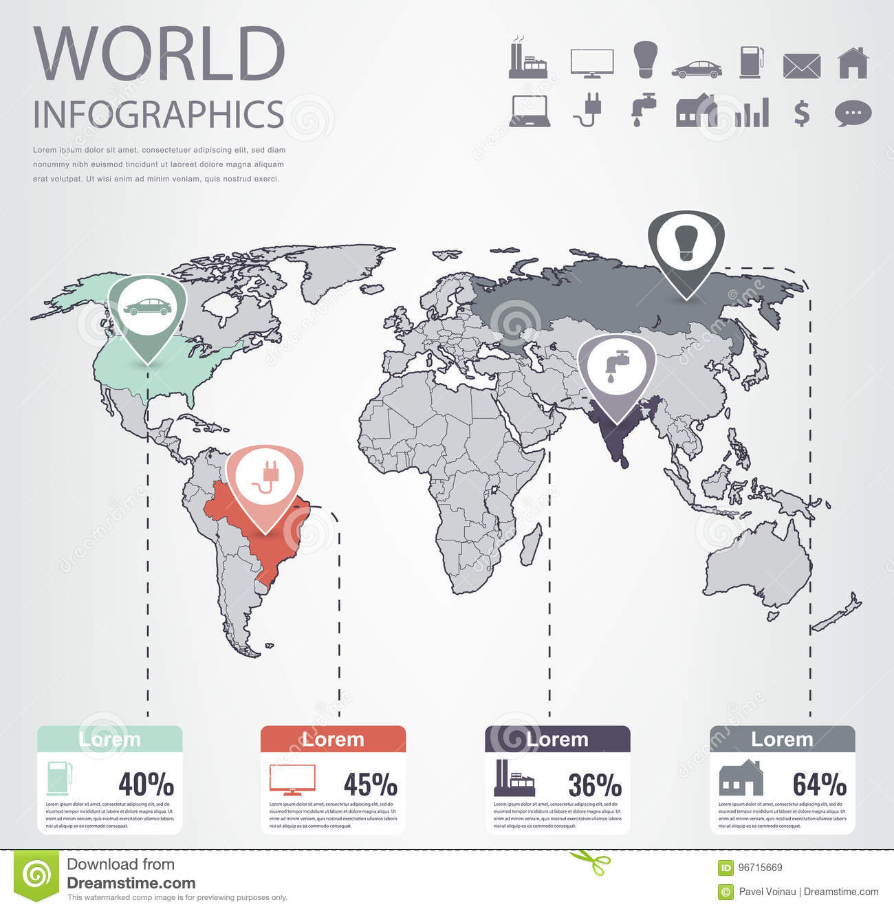 World Map Infographic Template. All Countries Are Selectable. Vector on
